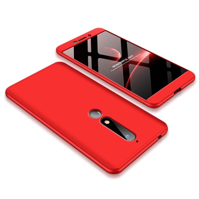 FORCELL 360 ° Ochranný obal Nokia 6.1 červený