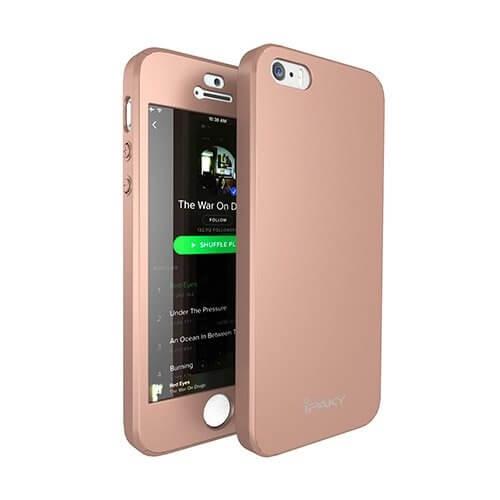 IPAKY 360 ° Ochranný obal + tvrzené sklo Apple iPhone 5 / 5S / SE růžový