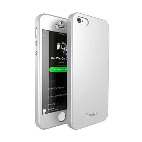 IPAKY 360 ° Ochranný obal + tvrzené sklo Apple iPhone 5 / 5S / SE stříbrný