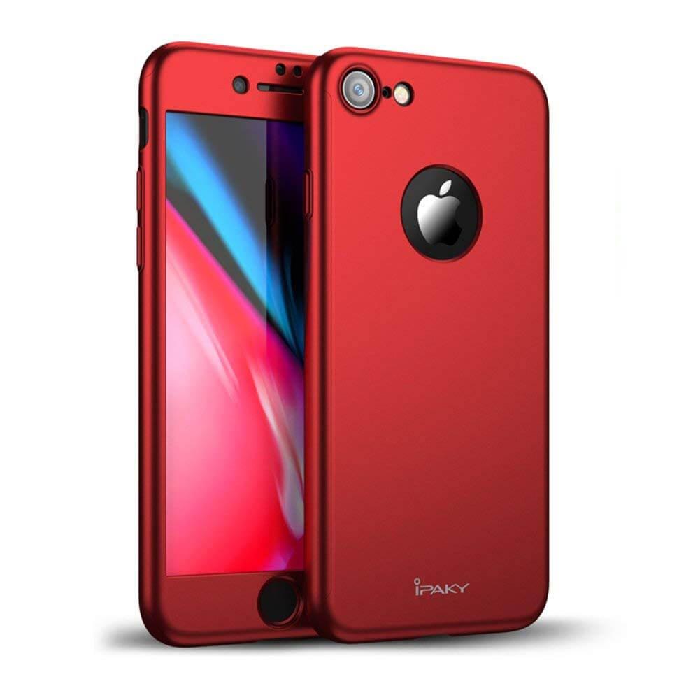 IPAKY 360 ° Ochranný obal + tvrzené sklo Apple iPhone 7 červený 75b8226133d