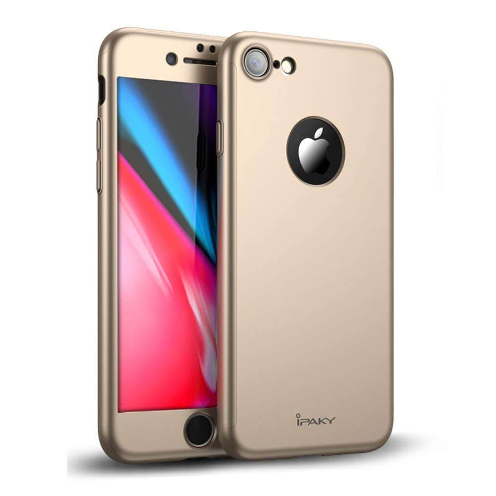 IPAKY 360 ° Ochranný obal + tvrzené sklo Apple iPhone 8 zlatý d39ddf4ba11