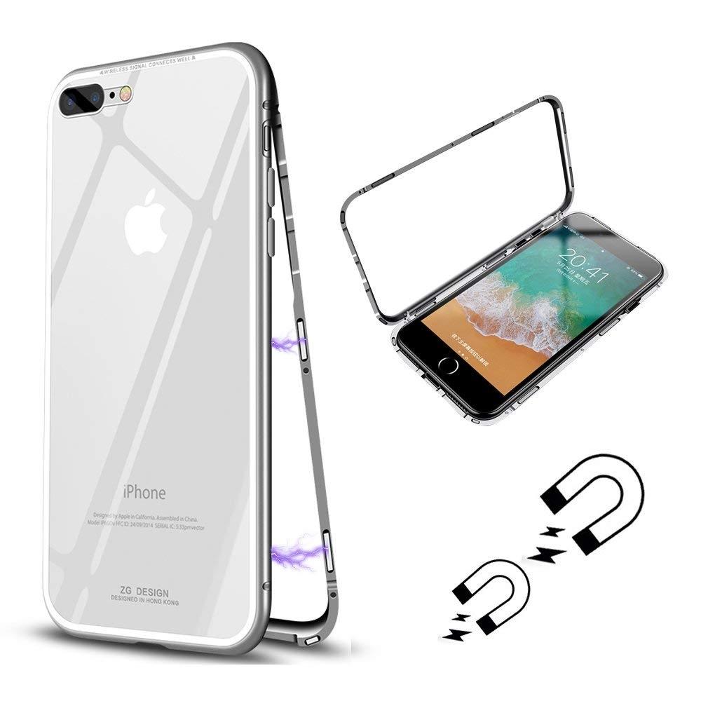 FORCELL Ochranný magnetický obal Apple iPhone 7 Plus / iPhone 8 Plus stříbrný