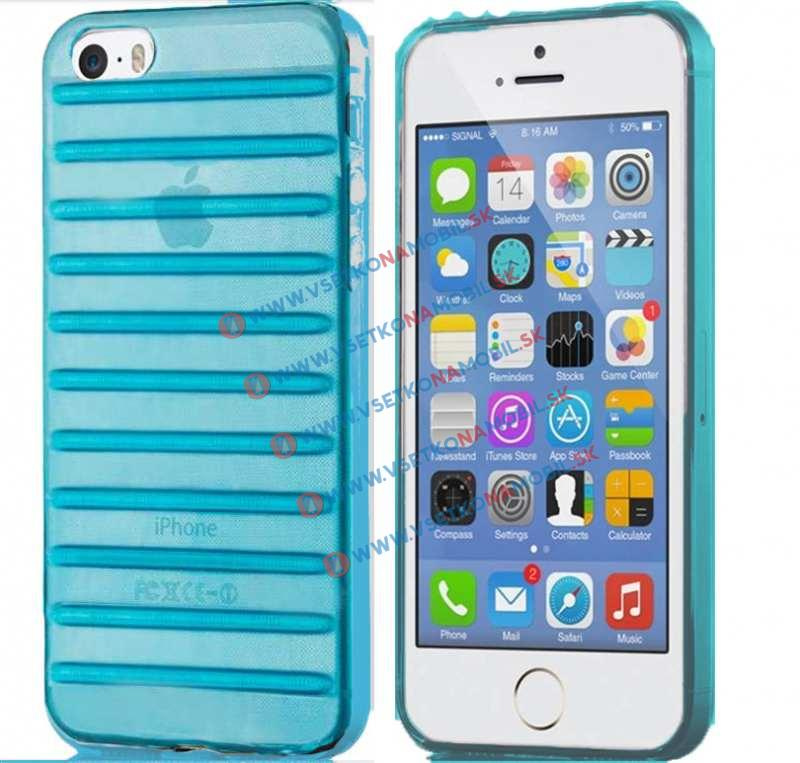 FORCELL STRIPES Silikónový obal Apple iPhone 5 / 5S / SE modrý (sky blue)