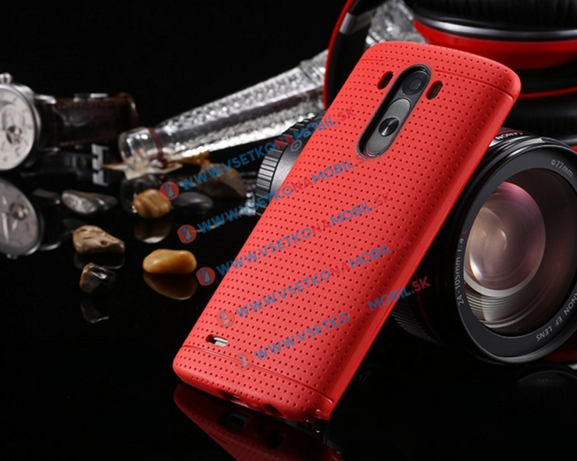 Tvrzený gumový obal pro LG G3 červený (red)