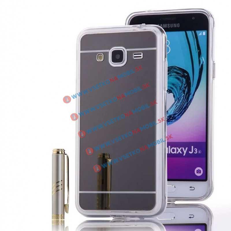 FORCELL Zrkadlový silikónový obal Samsung Galaxy J3 2016 čierny