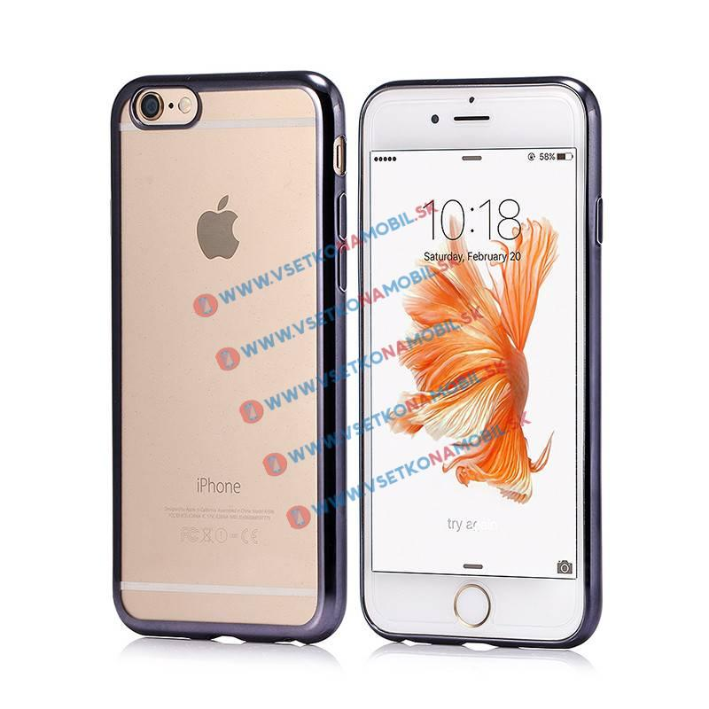 FORCELL Silikonový obal iPhone 6 Plus   6S Plus černý METALLIC a37a5ffd418