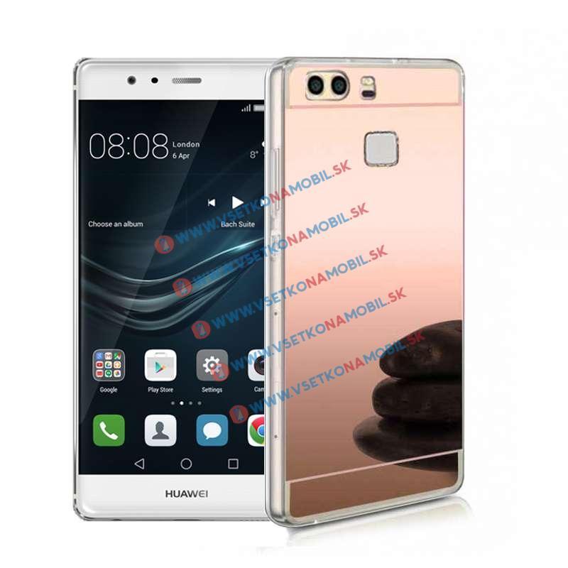 FORCELL Zrkadlový silikónový obal Huawei P9 ružový