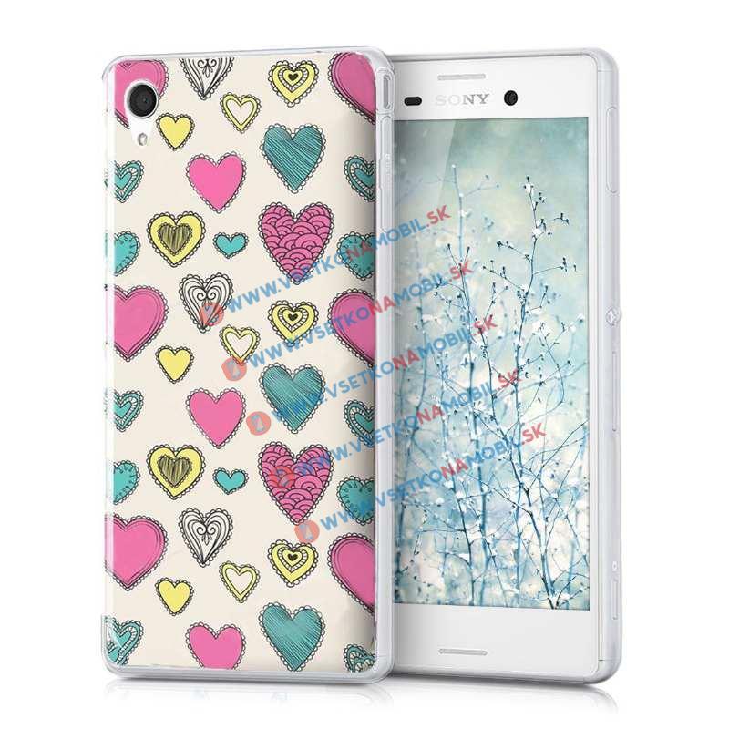 FORCELL Silikonový obal Sony Xperia M4 Aqua HEARTS