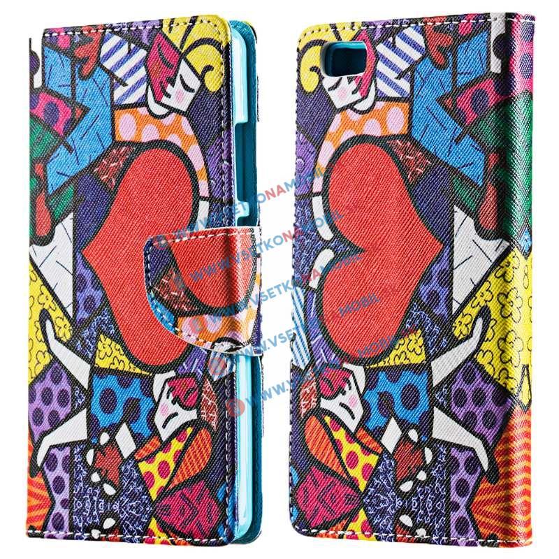 Peňaženkové flip puzdro Huawei P8 lite MOSAIC