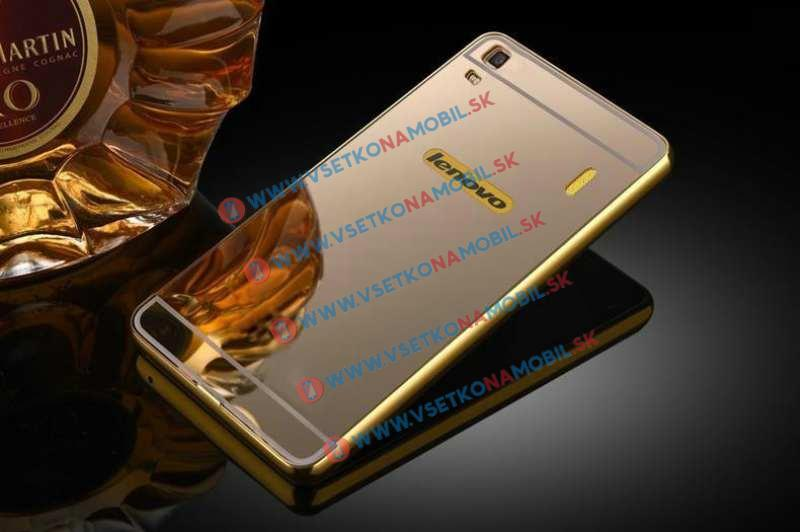 Ochranný zrkadlový obal Lenovo A7000 (K3 Note) zlatý