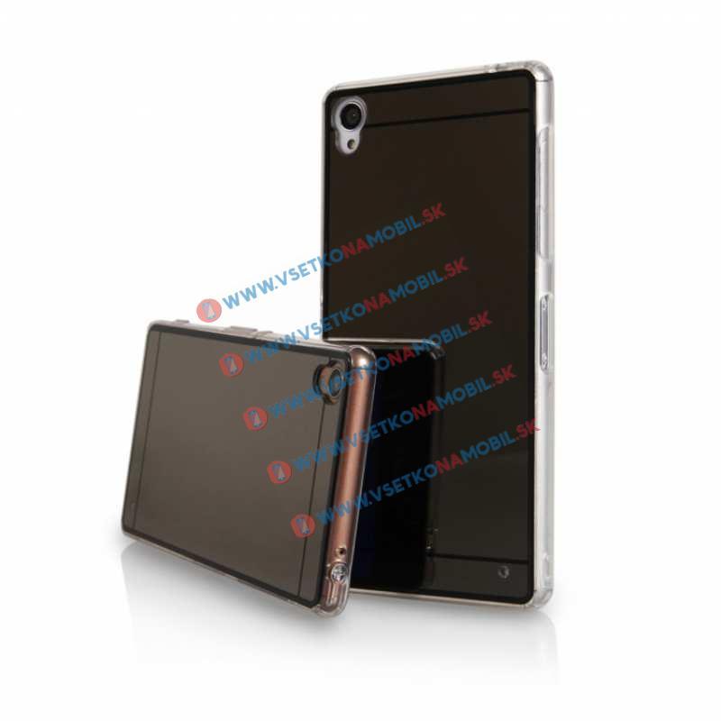 FORCELL Zrkadlový silikónový obal Sony Xperia M4 Aqua čierny