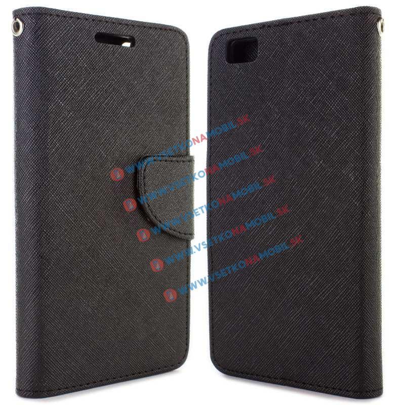 FANCY Peňaženkové flip puzdro Huawei P8 lite čierne