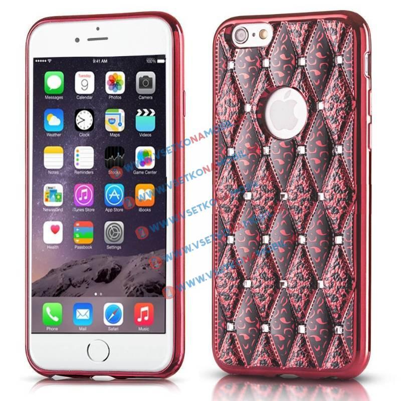 FORCELL GLAMOUR Gumený vzorovaný obal iPhone 6 / 6S ružový