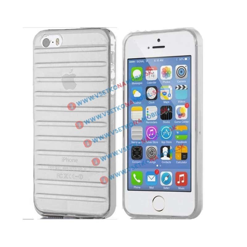 FORCELL STRIPES Silikonový obal Apple iPhone 5 / 5S / SE průhledný