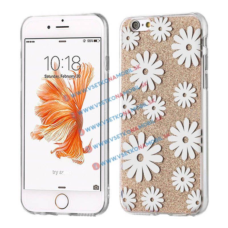 FORCELL SHINY FLOWERS Ochranný obal Apple iPhone 6 / 6S zlatý