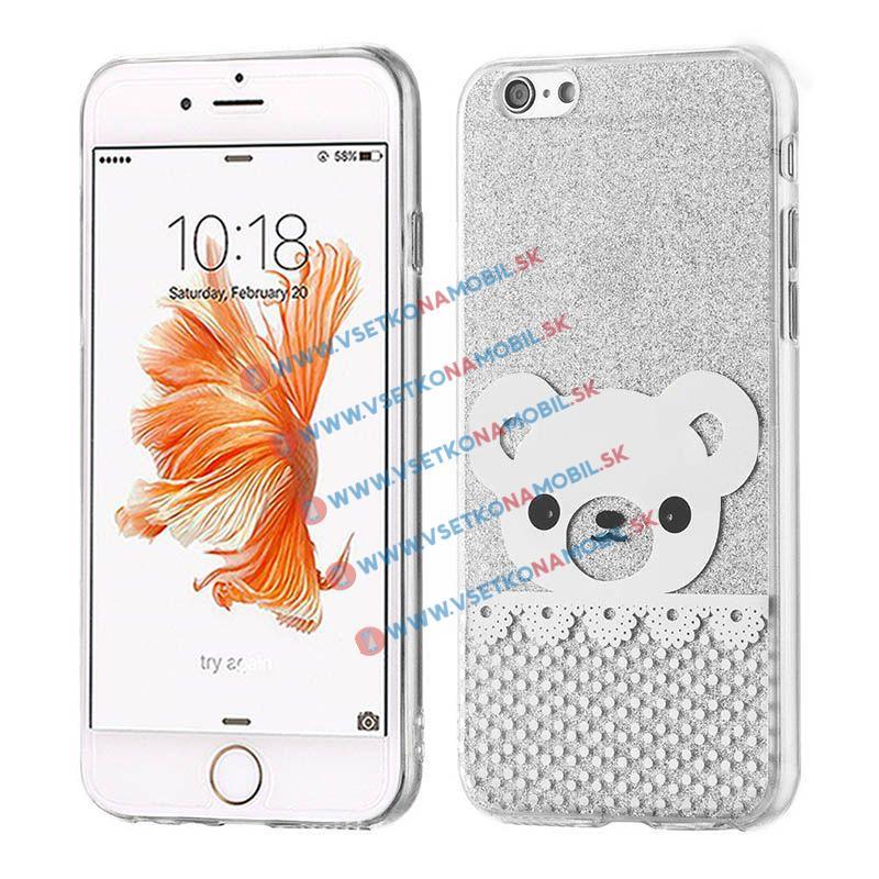 FORCELL SHINY BEAR Silikonový obal Apple iPhone 6 / 6S stříbrný