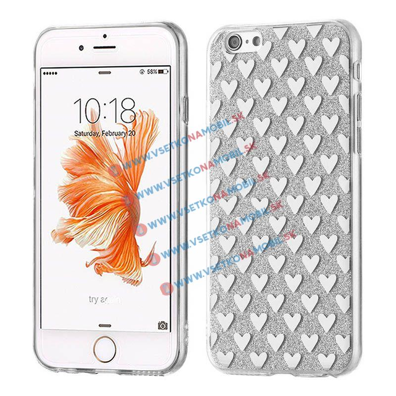 FORCELL SHINY HEARTS Silikonový obal Apple iPhone 6   6S stříbrný 8a70b92f771