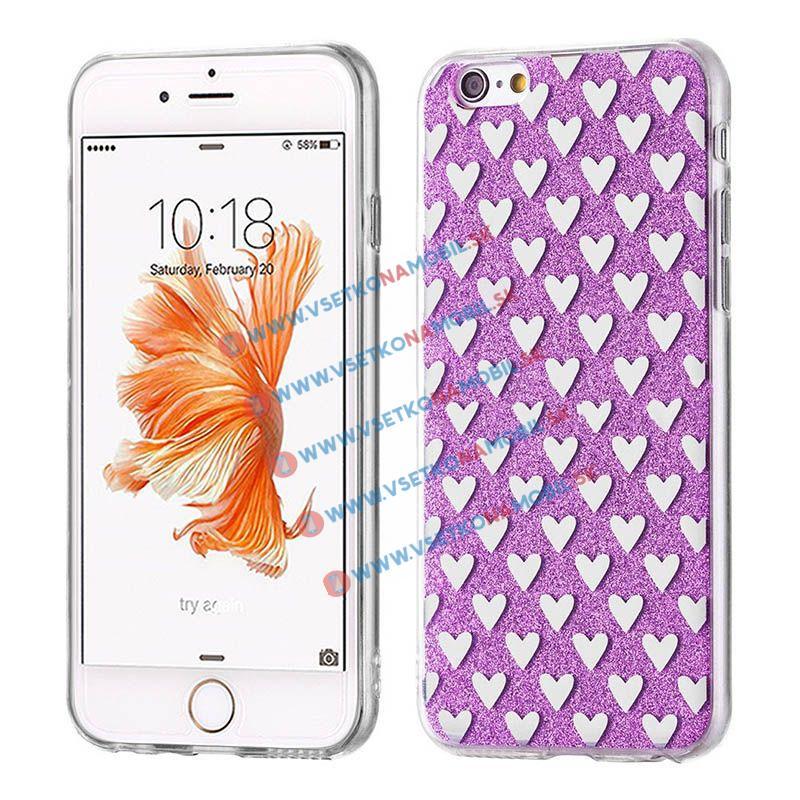 FORCELL SHINY HEARTS Silikónový obal Apple iPhone 5 5S SE fialový f1a49a4b0e9