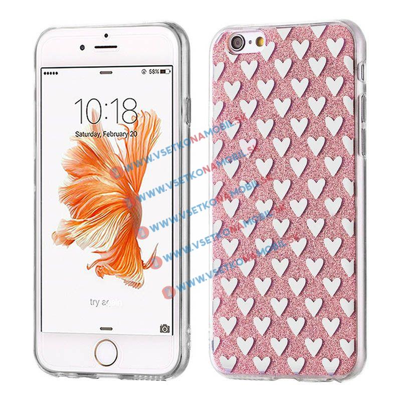 FORCELL SHINY HEARTS Silikonový obal Apple iPhone 5 / 5S / SE růžový