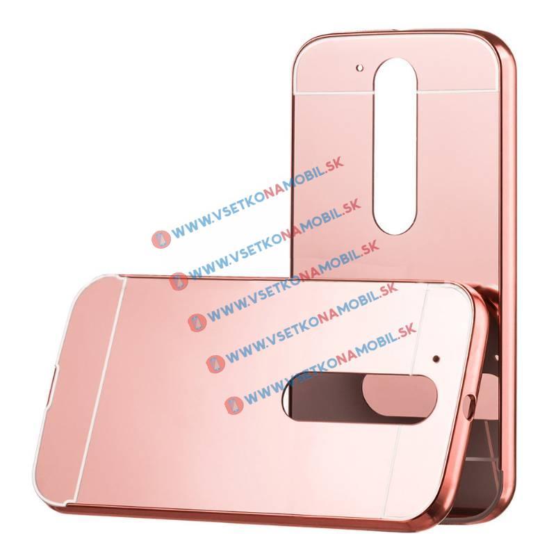 Ochranný zrkadlový obal Lenovo Moto G4 ružový d3893b79950