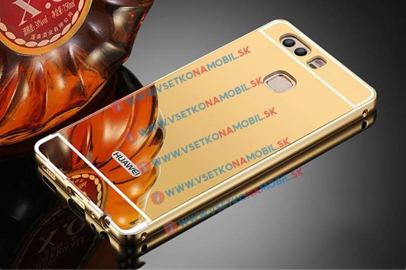 Ochranný zrkadlový obal Huawei P9 zlatý