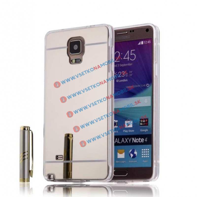 FORCELL Zrkadlový silikónový obal Samsung Galaxy Note 4 strieborný