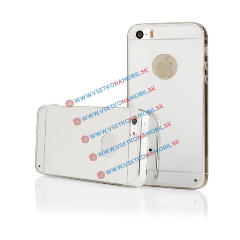 FORCELL Zrcadlový silikonový obal iPhone 5 / 5S / SE stříbrný