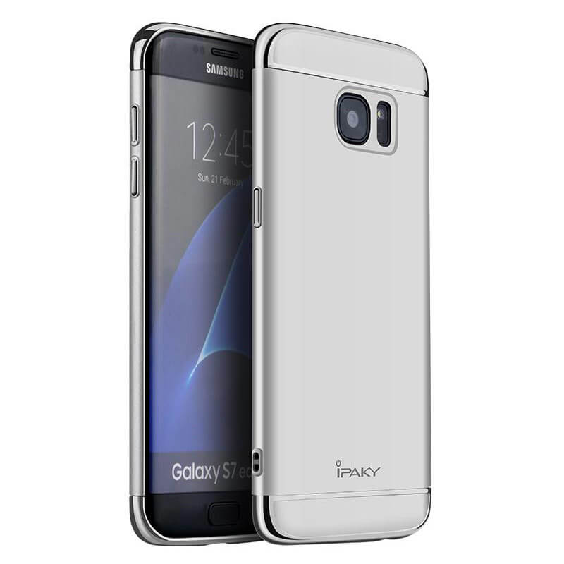 IPAKY 3v1 Ochranný obal Samsung Galaxy S7 Edge stříbrný