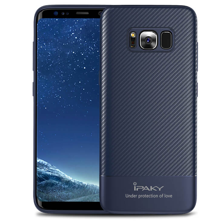 IPAKY CARBON Ochranný kryt Samsung Galaxy S8 modrý