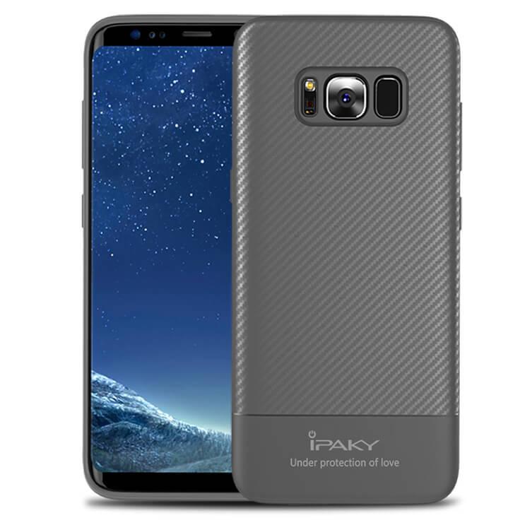 IPAKY CARBON Ochranný kryt Samsung Galaxy S8 šedý