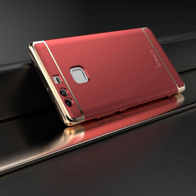 IPAKY 3v1 Ochranný obal Huawei P9 červený