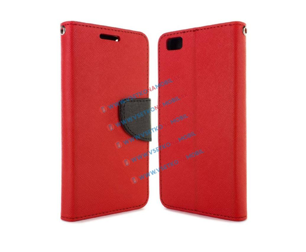 FANCY Peňaženkové flip puzdro Huawei P8 lite red-black
