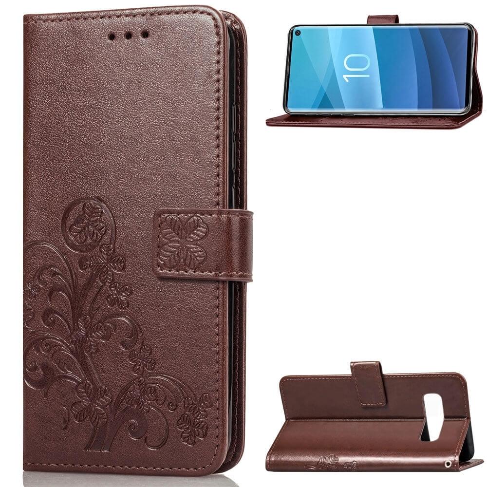 FORCELL ART Peňaženkový obal Samsung Galaxy S10 FLOWER hnědý