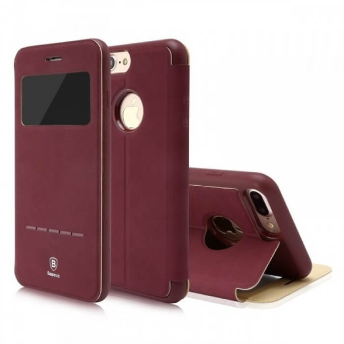 BASEUS SIMPLE LEATHER obal Apple iPhone 7 Plus červený