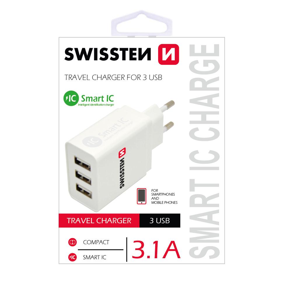 FORCELL SWISSTEN Univerzálna sieťová nabíjačka (3X USB) biela