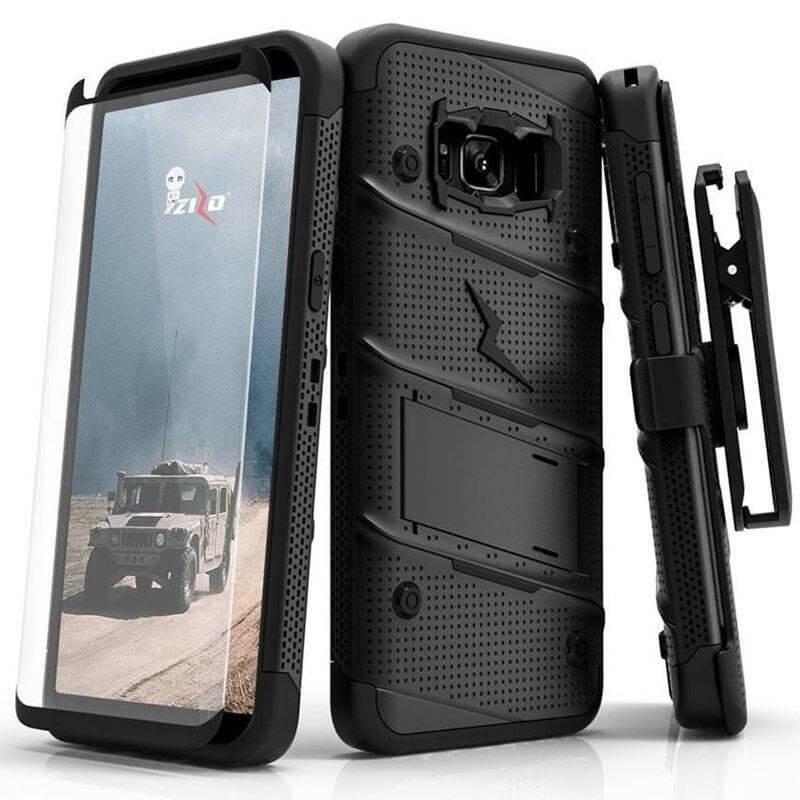 Zizo BOLT Ochranný kryt + 9H Temperované sklo Samsung Galaxy S8 černý