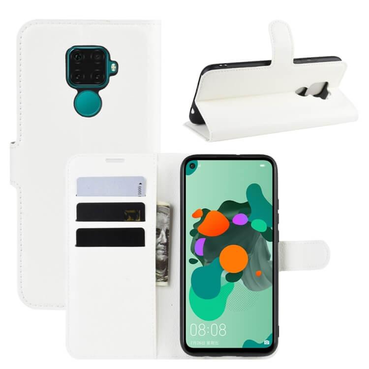 FORCELL LITCHI Peňaženkové puzdro Huawei Mate 30 Lite biele