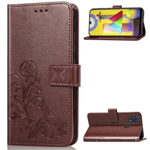 Levně FORCELL ART Peňaženkový Samsung Galaxy M31 FLOWERS hnědý
