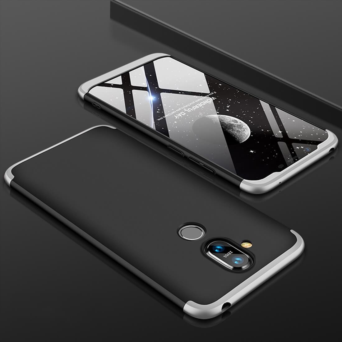 FORCELL 360 ° ochranný kryt Nokia 8.1 černý (stříbrný)