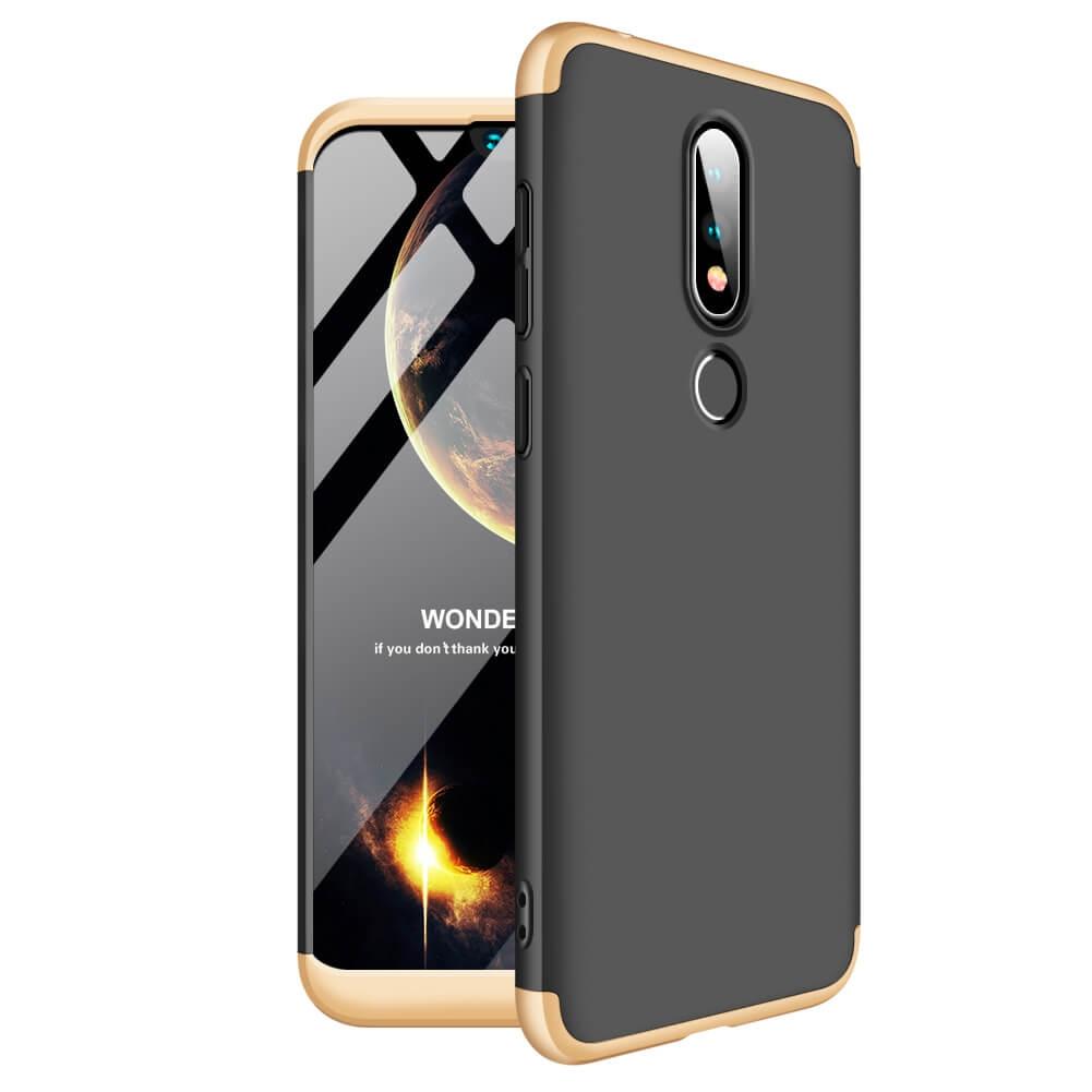 FORCELL 360 ° ochranný kryt Nokia 6.1 Plus (Nokia X6) černý-zlatý