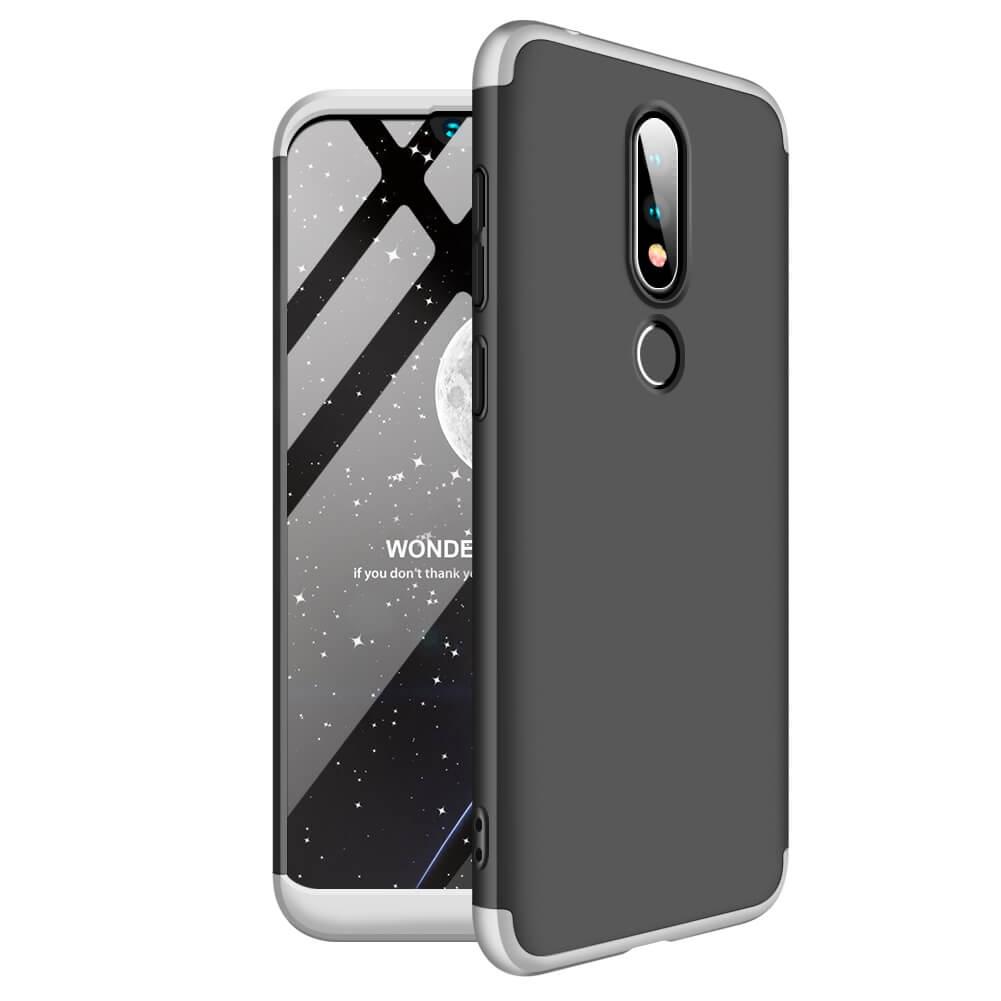 FORCELL 360 ° ochranný kryt Nokia 6.1 Plus (Nokia X6) černý-stříbrný