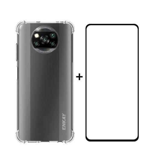 ENKAY Průhledný obal + 3D sklo Xiaomi Poco X3 NFC