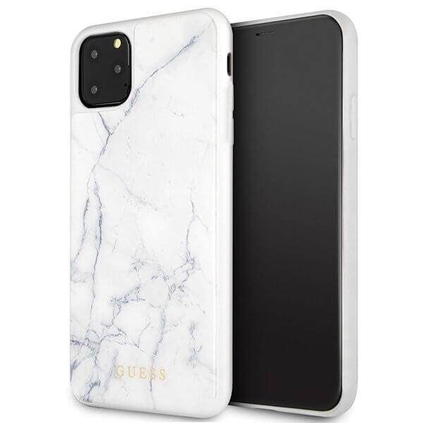 GUESS Silikonový obal Apple iPhone 11 Pro bílý