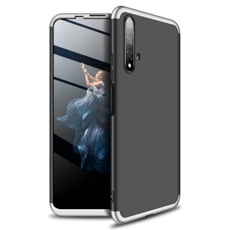 FORCELL 360 ° Ochranný obal Huawei Honor 20 / Huawei Nova 5T černý-stříbrný