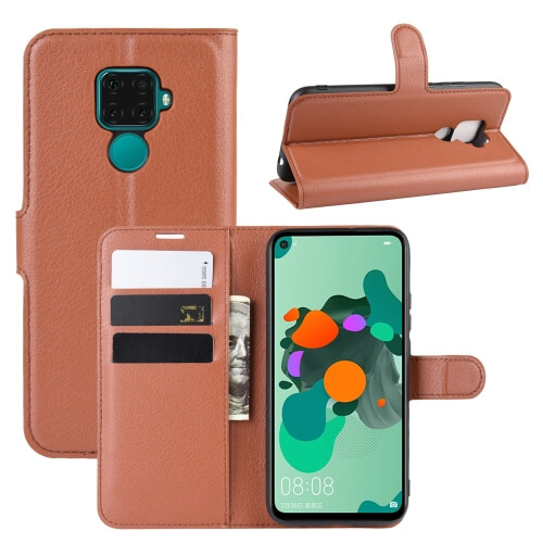 FORCELL LITCHI Peňaženkové puzdro Huawei Mate 30 Lite hnedé