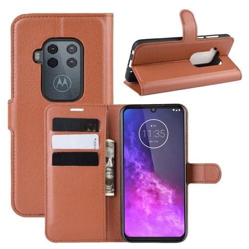 FORCELL Litchi Peňaženkové pouzdro Motorola One Zoom hnědé