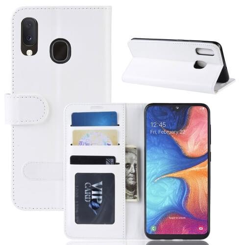 Levně FORCELL LITCHI Peňaženkové pouzdro Samsung Galaxy A20e bílé