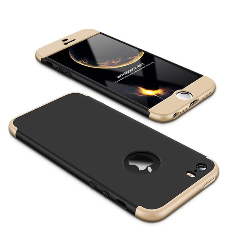 FORCELL 360° Ochranný obal Apple iPhone 5 / 5S / SE čierno-zlatý