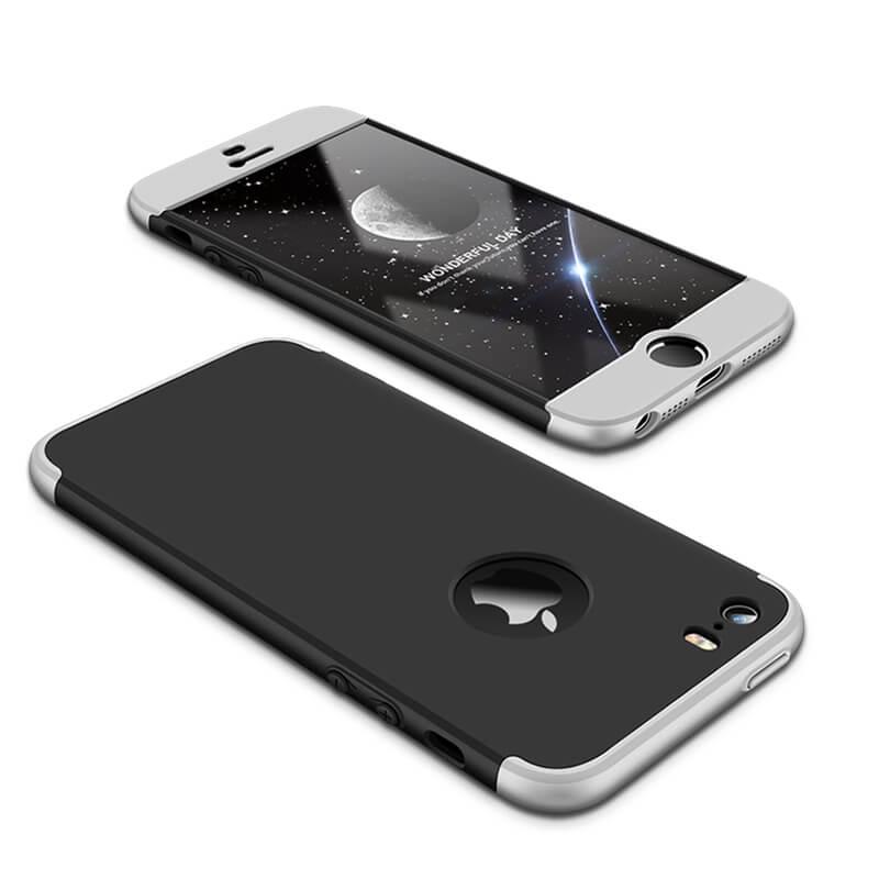 FORCELL 360 ° Ochranný obal Apple iPhone 5 / 5S / SE černo-stříbrný