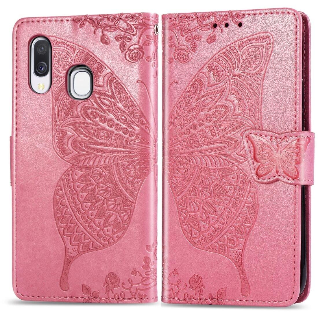 FORCELL ART Peňaženkový obal Samsung Galaxy A40 BUTTERFLY růžový